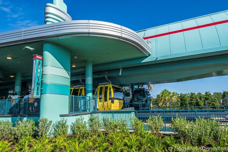 gondola cars arriving Disney Skyliner Gondola Stations Hollywood Studios