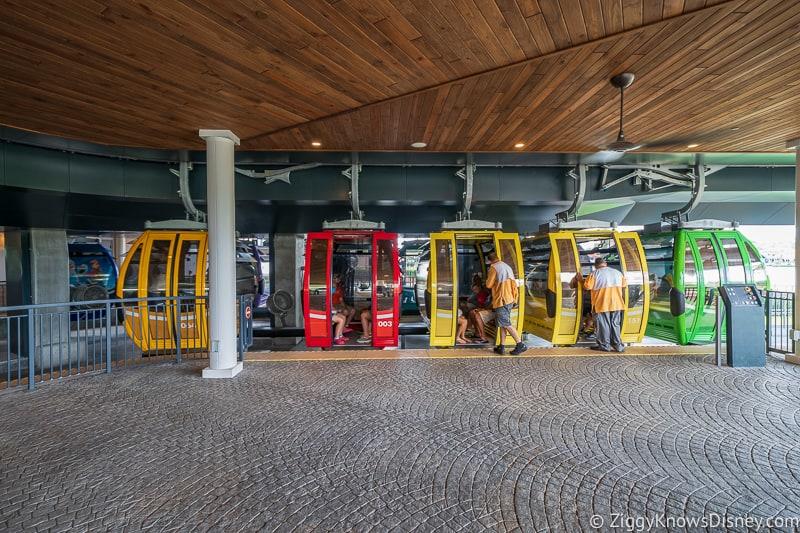 unloading at Disney Skyliner Gondola Stations Riviera Resort