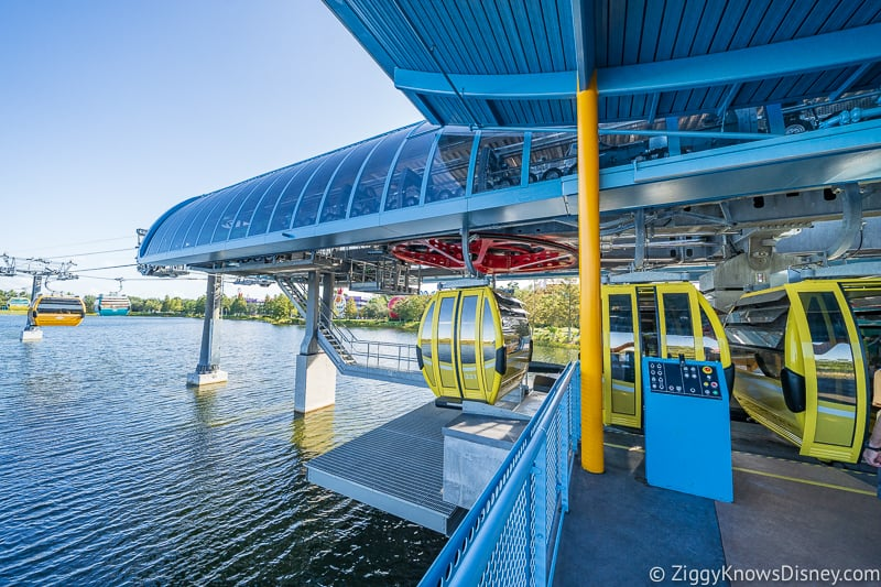 Disney Skyliner Gondolas coming in to the Station Pop Century Art of Animation 2