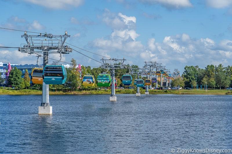 Line of Disney Skyliner Gondolas going to Pop Century Art of Animation