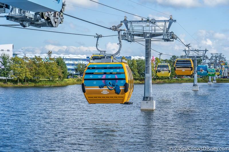 Gondolas over water at Disney Skyliner Gondola Stations Pop Century Art of Animation