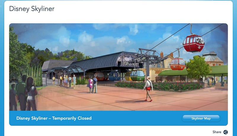 Disney Skyliner temporarily closed on website