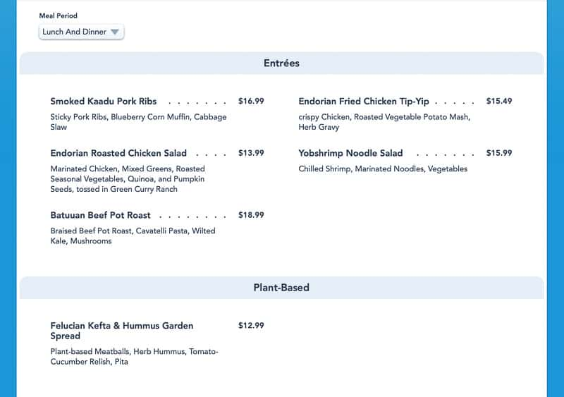 Docking Bay 7 menu name change in Disneyland