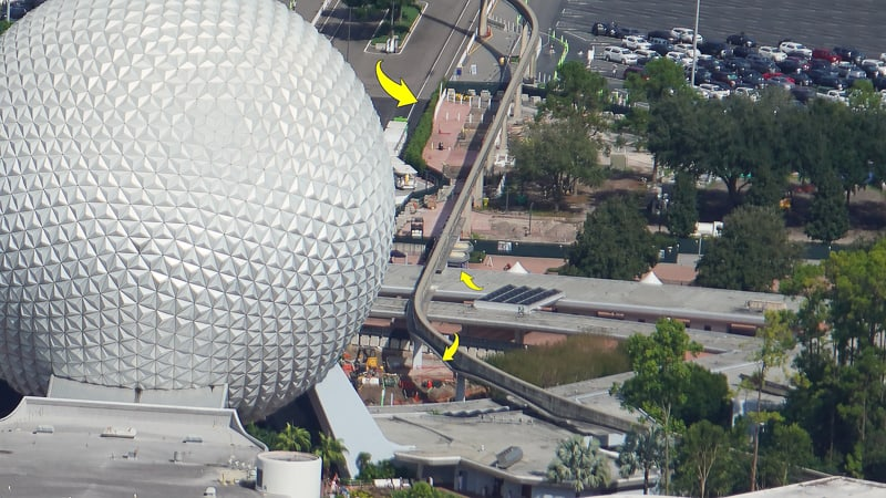 aerial of new Epcot bag check - Epcot entrance construction update November 2019