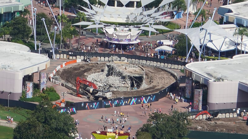Aerial of Epcot Fountain of Nations demolition updates October 2019
