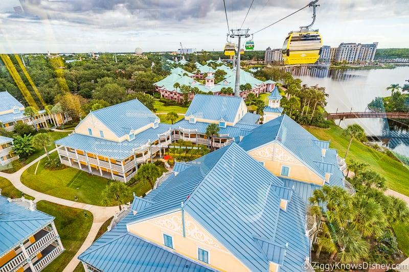Inside the Disney Skyliner above Caribbean Beach