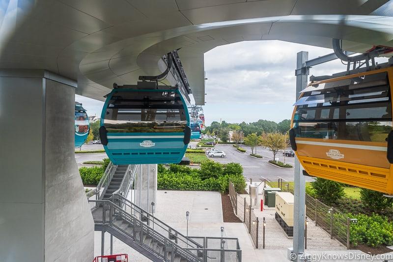going through Turn Station Inside the Disney Skyliner