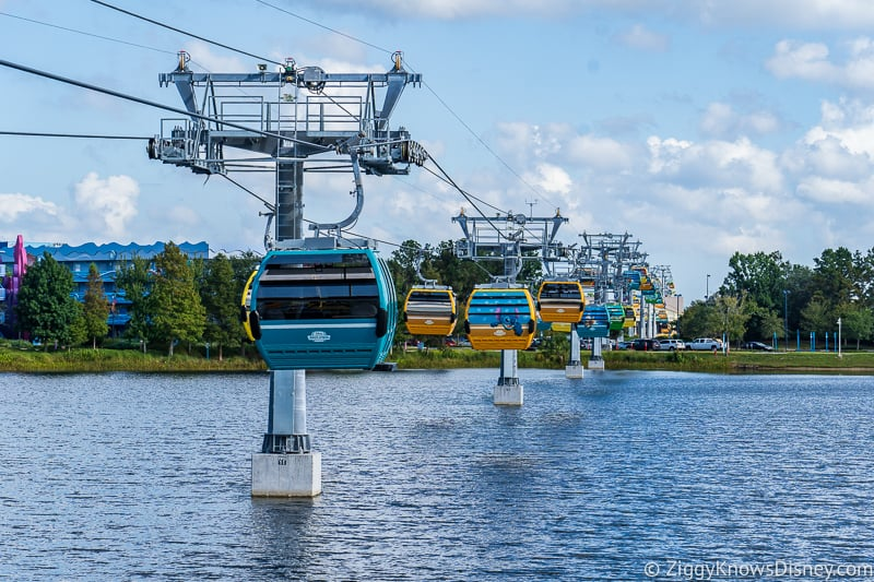 Disney Skyliner Gondolas coming into Pop Century Station