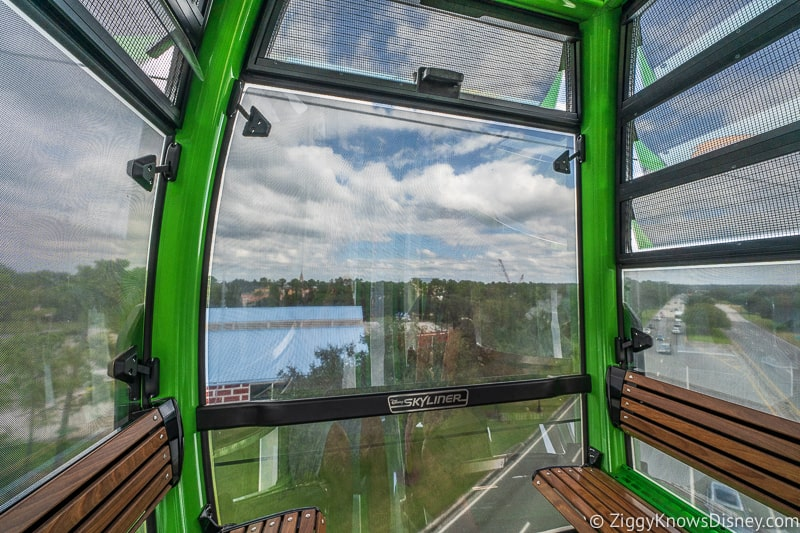 windows Inside the Disney Skyliner with character