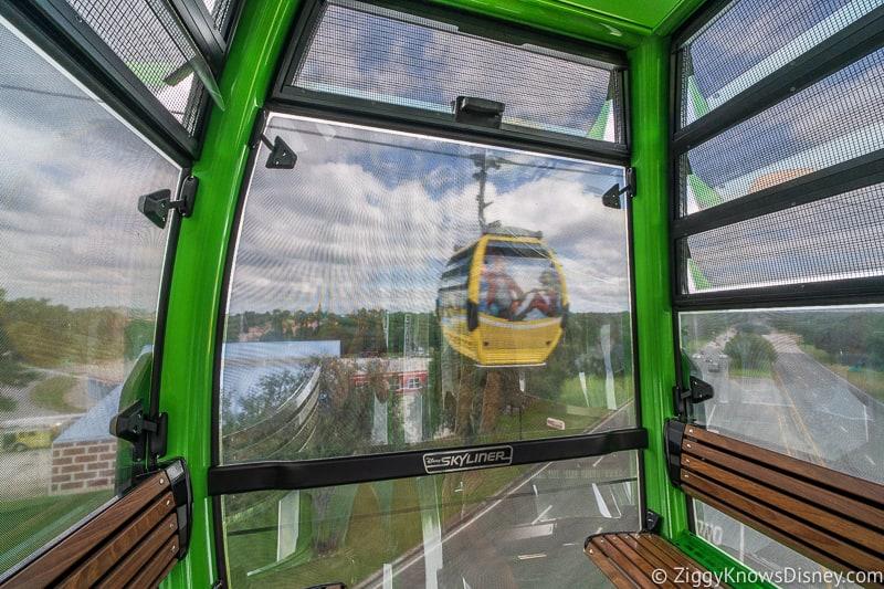 inside the Disney Skyliner gondolas in air