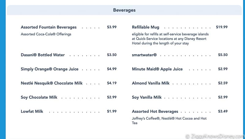 refillable mugs Latest Price Increases for Food in Walt Disney World