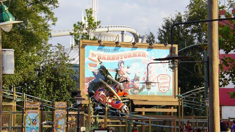 View of 3 magic kingdom coaster from Fantasyland