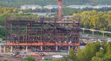 Tron Roller Coaster steel frame construction update October 2019
