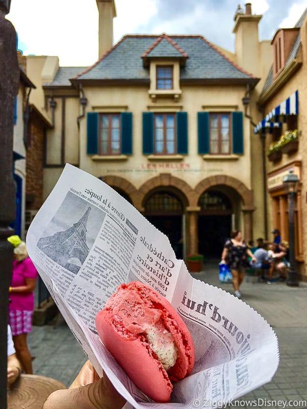 Macaron Ice Cream Sandwich France Pavilion Best Snacks at Epcot