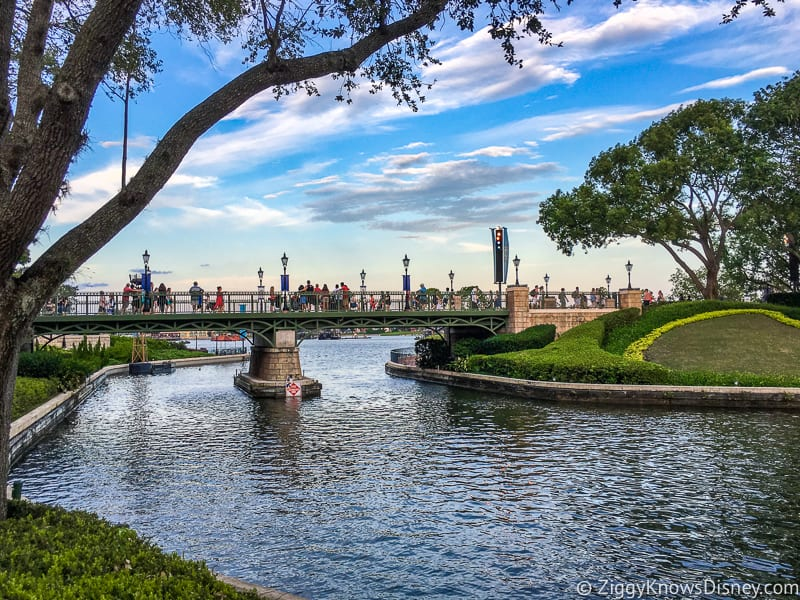 walking over the bridge to France in Epcot World Showcase lagoon