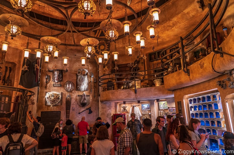 rare artifacts on the walls of Dok Ondar's Den of Antiquities Galaxy's Edge