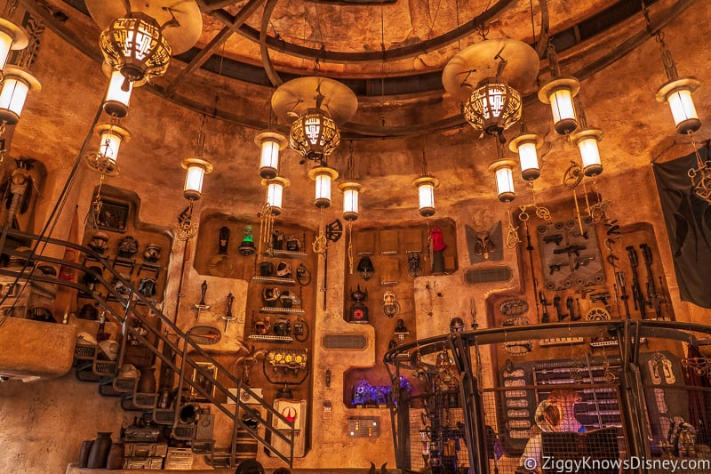 back wall at Dok Ondar's Den of Antiquities Star Wars Galaxy's Edge