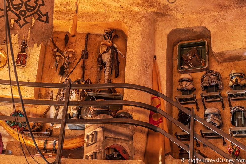 helmets up on the wall Dok Ondar's Den of Antiquities Galaxy's Edge