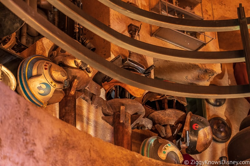 helmets inside Dok Ondar's Den of Antiquities Galaxy's Edge