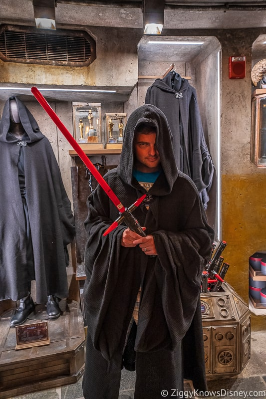 Dok Ondar's Den of Antiquities Merchandise trying on a Sith robe
