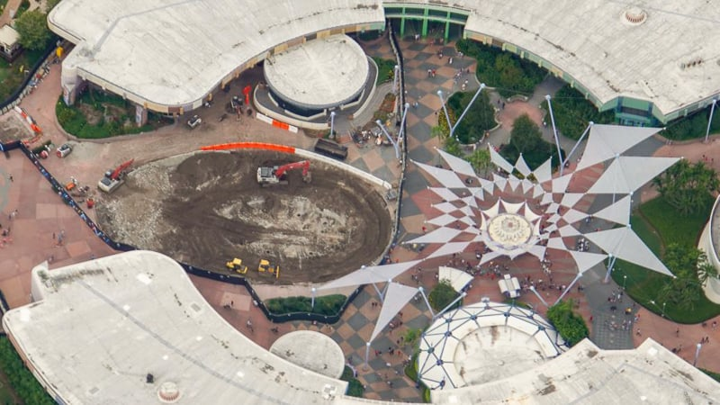 aerial of the Fountain of Nations demolition Epcot update November 2019