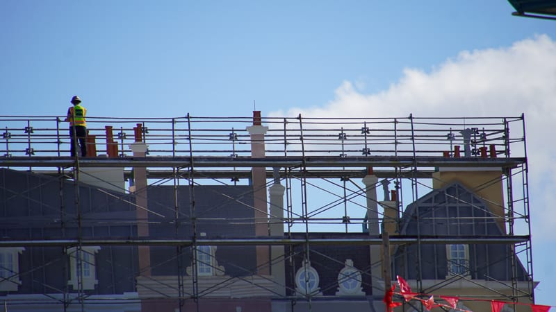 chimneys on the facade of Ratatouille ride in France pavilion construction update