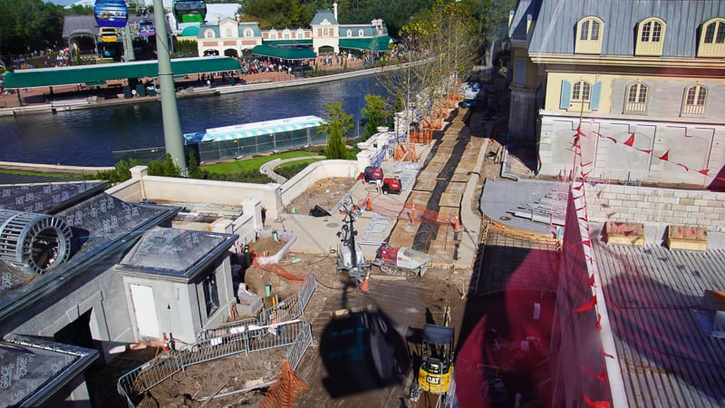 walkway heading to New France pavilion Epcot December 2019