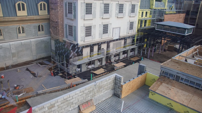 paving the street in New France pavilion construction update December 2019