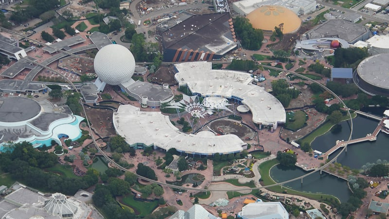 aerial shot of Epcot's Future World Fountain of Nations completely demolished in Epcot November 2019