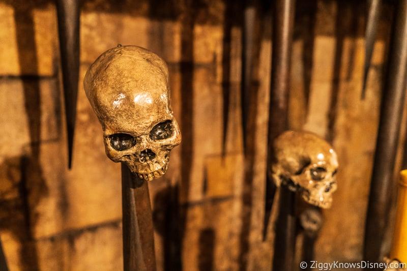 skulls in the Indiana Jones Adventure queue Disneyland