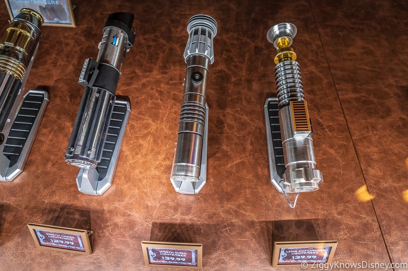group of Star Wars Legacy lightsabers Dok Ondar's Den of Antiquities Galaxy's Edge