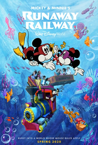 new poster for Mickey and Minnies's Runaway Railway ride