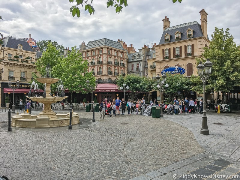 courtyard outside Ratatouille attraction in Walt Disney Studios Disneyland Paris