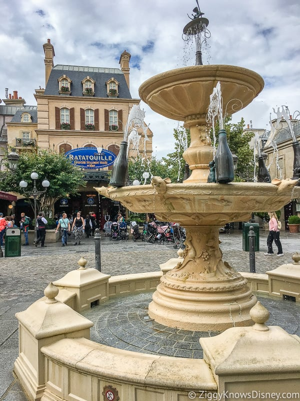 fountain outside Ratatouille attraction in Walt Disney Studios Disneyland Paris