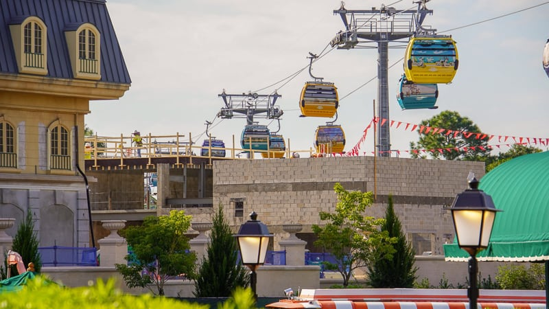 Disney Skyliner coming over the France pavilion construction Epcot November 2019