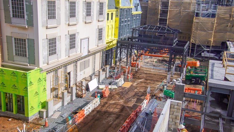street view of black steel structure Remy's Ratatouille and France Construction Update November 2019