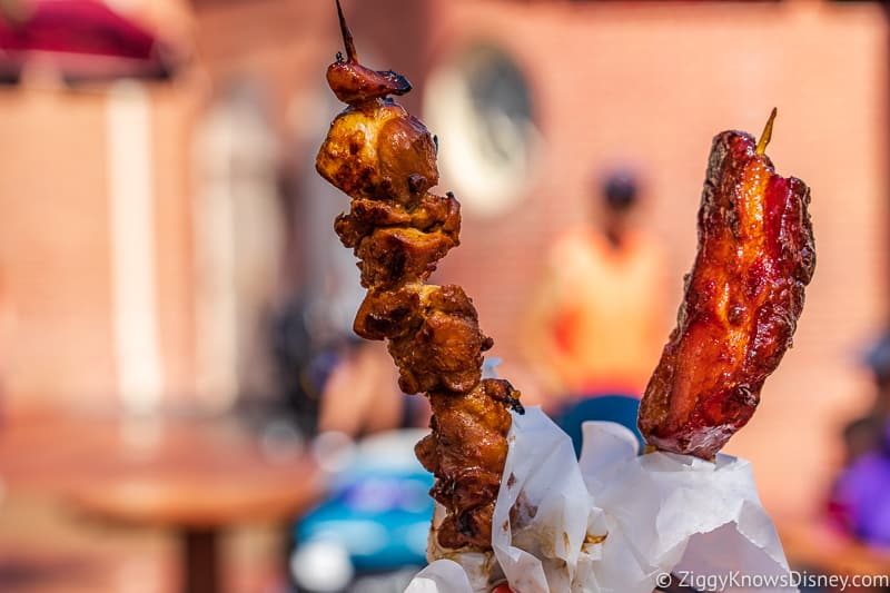 Chicken and Candied Bacon Skewers Best Snacks at Magic Kingdom