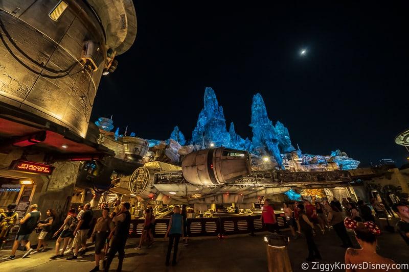 night outside Millennium Falcon Smuggler's Run attraction entrance