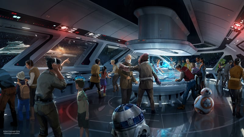 guests in the bridge on the Star Wars Galactic Starcruiser Hotel concept art