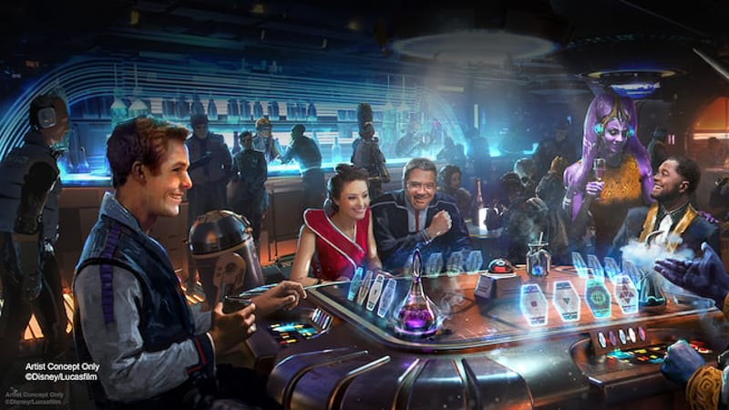 guests playing Sabacc on the Star Wars Galactic Starcruiser Hotel concept art