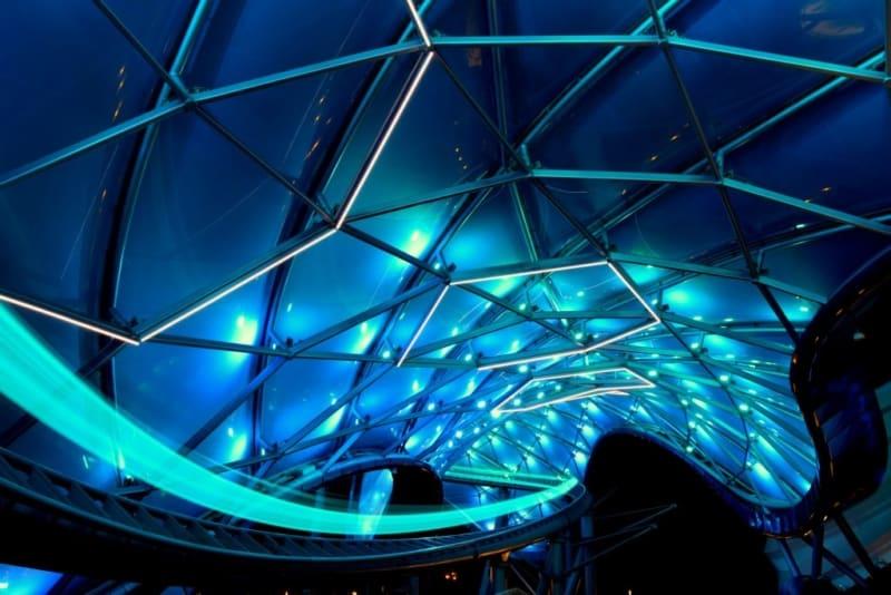 Tron coaster at night