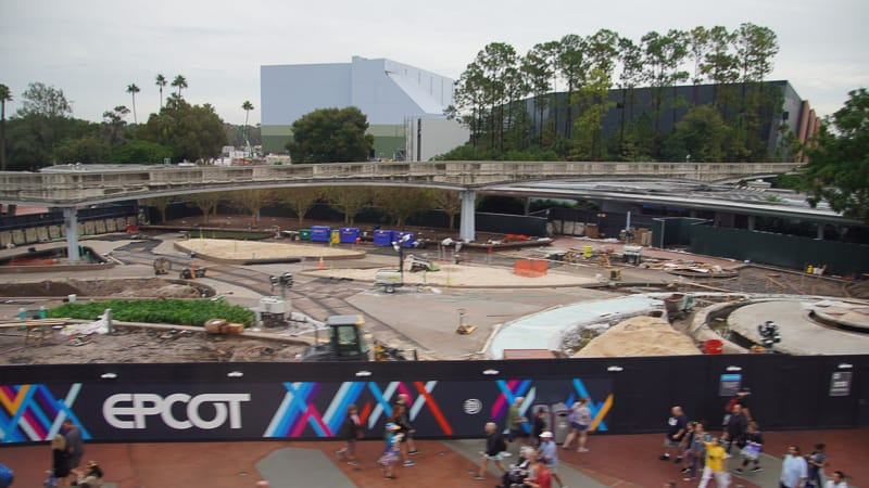 Epcot Entrance plaza from monorail Construction Update December 2019