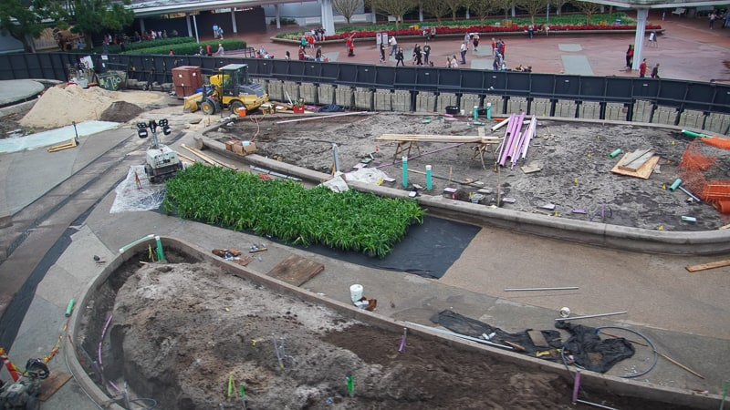 Center of Epcot Entrance plaza Construction Update December 2019