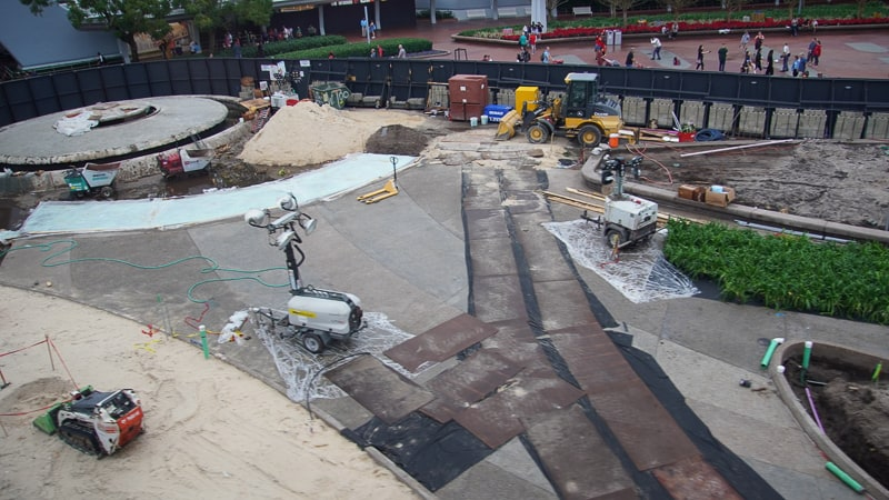 new paving in Epcot Entrance plaza Construction Update December 2019