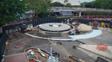 around the Fountain at Epcot Entrance Construction Update December 2019