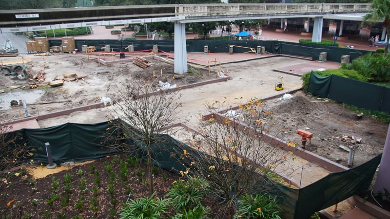 paving new walkway outside Epcot Entrance Construction Update December 2019