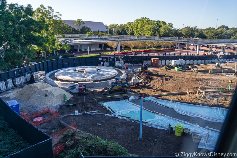 around the fountain Epcot Entrance Construction Updates December 2019