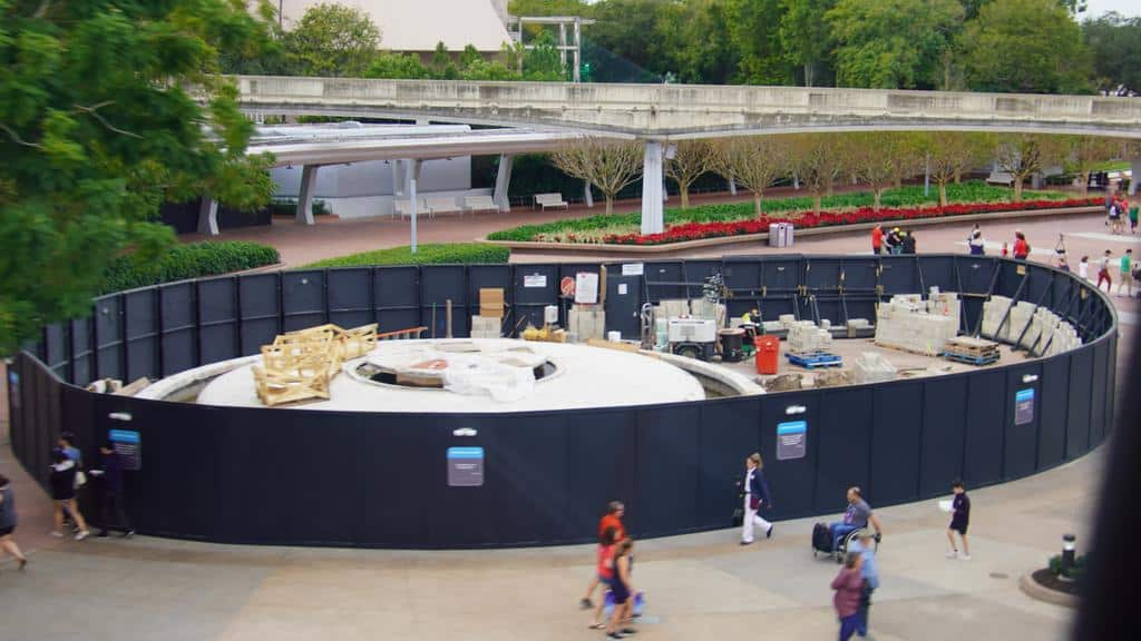 Epcot entrance fountain construction December 2019 walls up