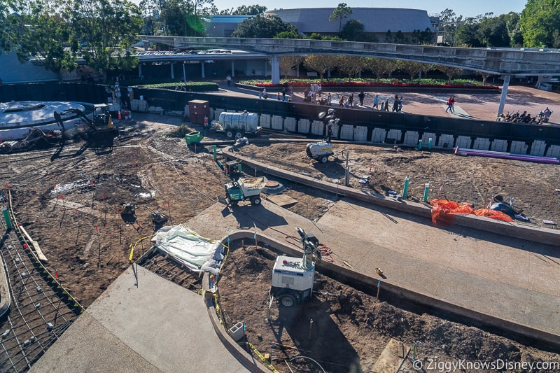 laying pavement Epcot Entrance Construction Updates December 2019