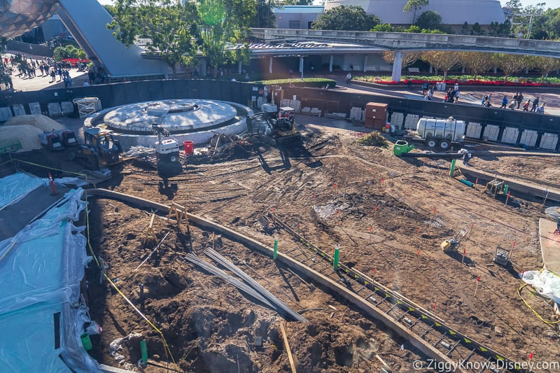 in front of the fountain at Epcot Entrance Construction Updates December 2019